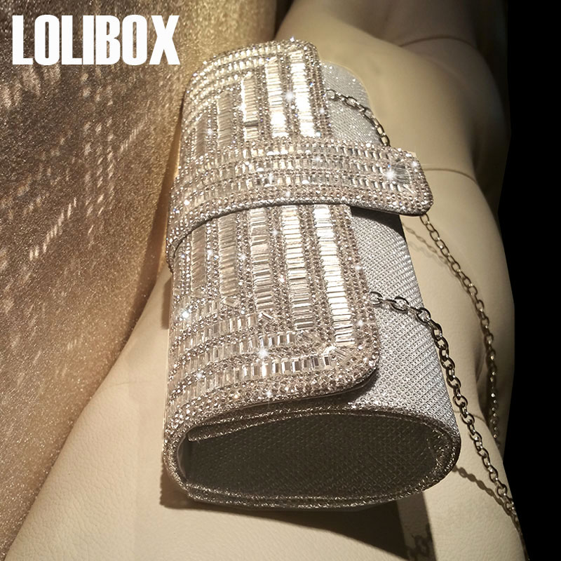 LOLIBOX Women Clutch Evening Bags rhinestone Sparkly Ladies Party Clutch Purse Crystals Long Chain Wedding Bridal