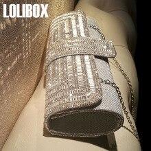 LOLIBOX New Diamond Flash Ladies Day Clutch Purse Chain Handbag Women Evening Bag Dress Bag Bridal Party Bag