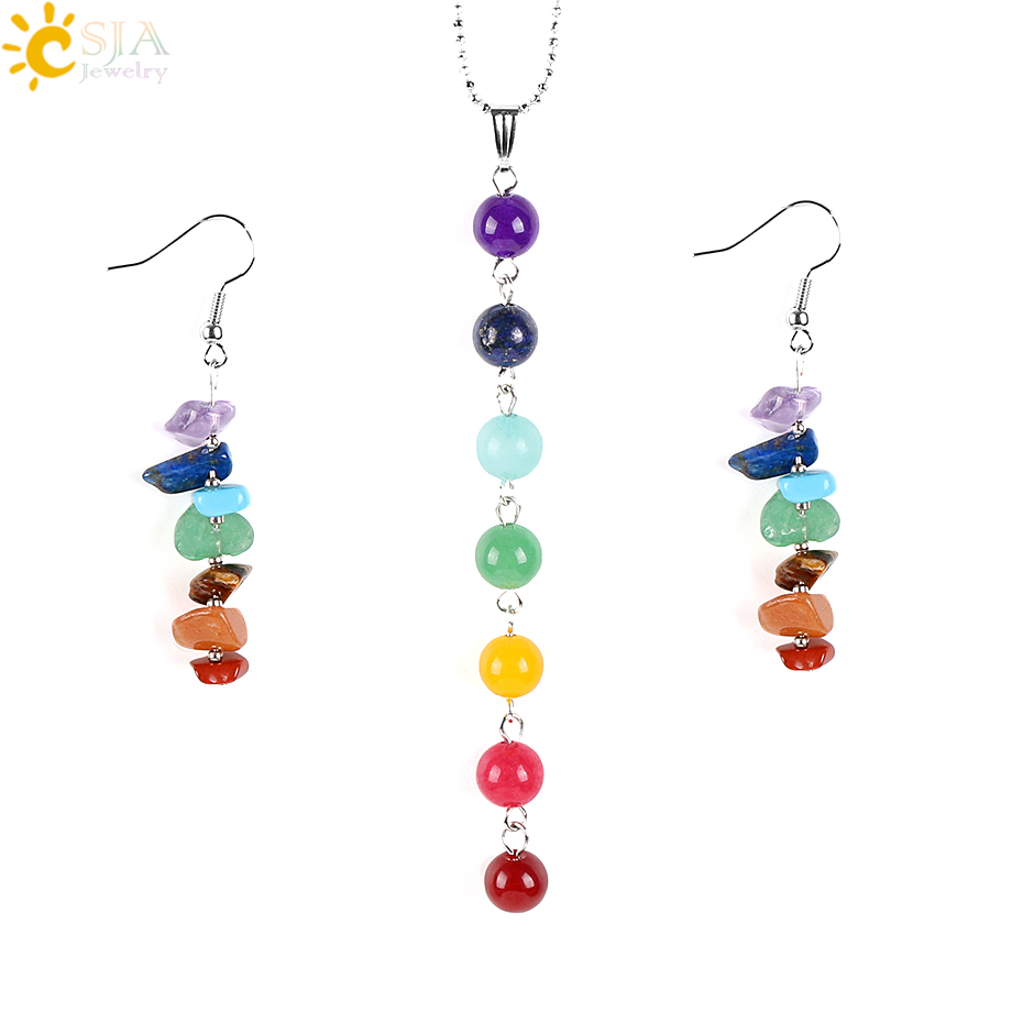 CSJA 7 Chakras Yoga Women Jewelry Sets Healing Reiki Rainbow Chips Earrings Necklaces Pendants Natural Gem Stone Mala Beads E702