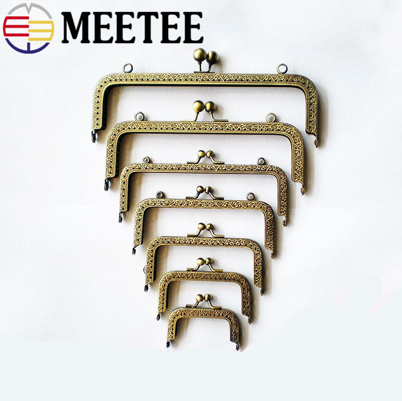 5pcs/lot High quality Bronze square mouth gold embossed Metal Purse Frame Handle for Bag Sewing Craft Tailor Sewer F1-71