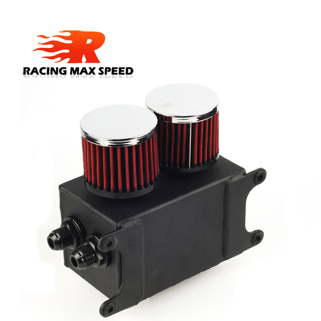 Universal 1.1L 2 ports AN10 Accessories Oil Fuel Oil catch Tank with 2 air filters and Oil Storage Tank can hold fan Kit