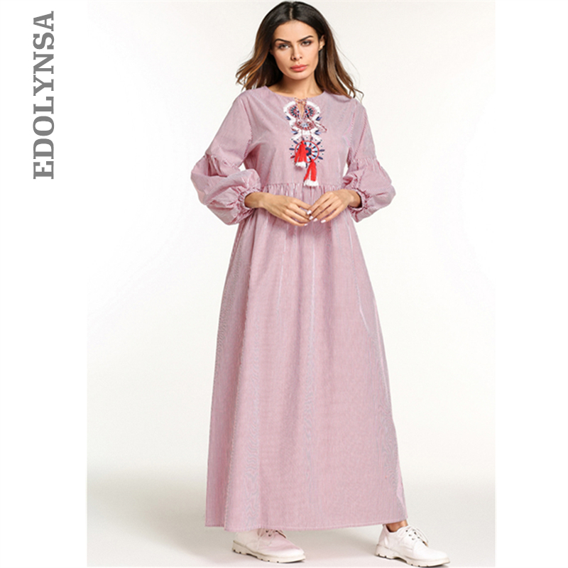 US $20.98 40% OFF|Pink Striped Embroidery Lace Up High Waist Fringed  Oversize Long Sleeve Maxi Dress Plus Size Women Clothing 2019 Robe Dress  D633-in ...