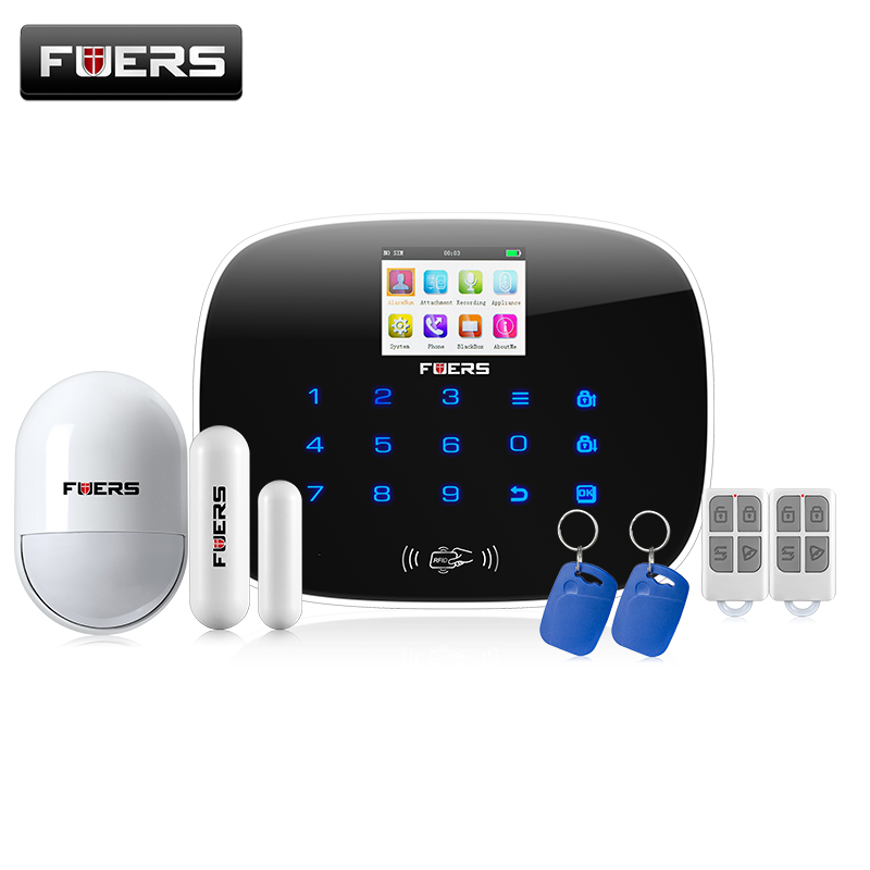 FUERS G19 ios android app GSM home alarm system alarm anlagen door/window sensor open reminder  pir detector rfid card fuers smart app control wireless wired home gsm sms security alarm system auto dial with infrared detector door open reminder