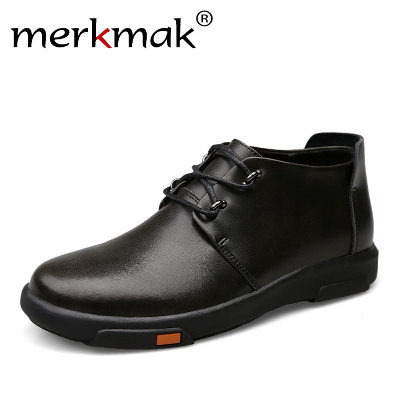Merkmak Genuine Leather Men Ankle Boots Fashion Waterproof Autumn Winter Outdoor Mens Casual Shoes High Top Footwear fashion pleated leather mens casual shoes spring autumn new high top men shoes ankle mens sneakers zipper casual footwear