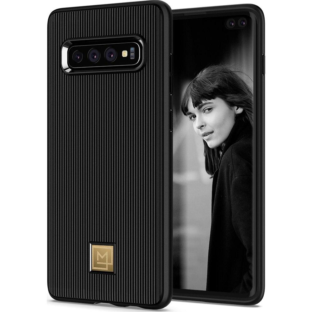 100% Original SPIGEN La Manon Classy Preto Flexível TPU Soft Case para Samsung Galaxy S10/Galaxy S10 Plus/ s10 +/S10E