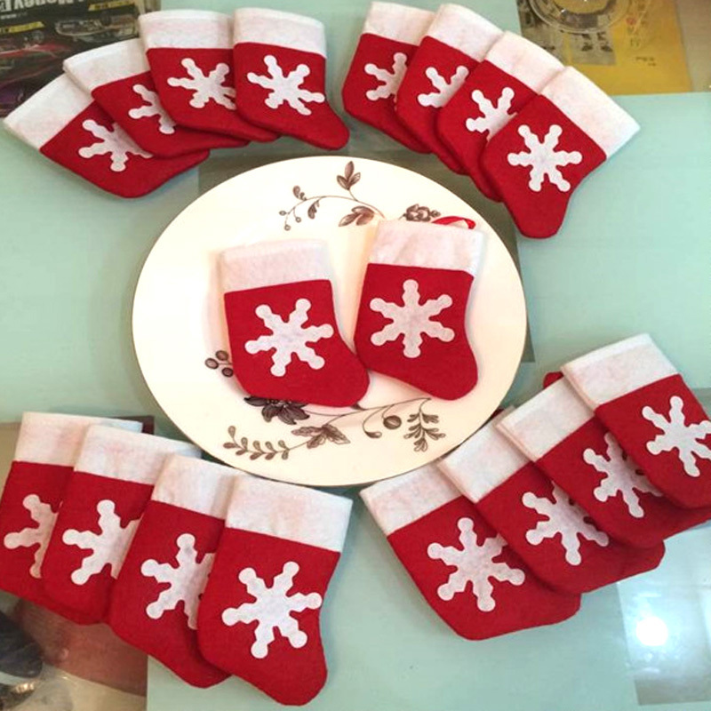 12Pcs/Set Mini Christmas Stockings Dinnerware Cover Xmas tree decorations  Christmas Sock New Year Festival Party Ornament