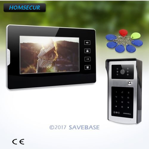 HOMSECUR 7 Video Door Entry Security Intercom with Keyfobs Password Keypad for Apartment