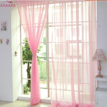 (Ship From US) 1 PCS Pure Color Tulle Door Window Curtain Drape Panel Sheer  Scarf Valances Curtains Cortinas Curtains For Living Room
