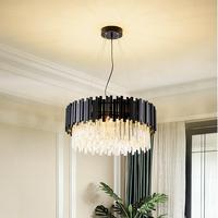 Modern stylish crystal chandelier black round LED light for living room bedroom lighting