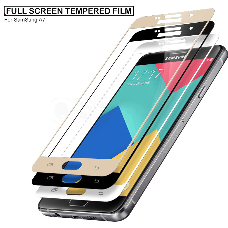 Image 3 - 9D 9H Full Cover Tempered Glass On The For Samsung Galaxy S7 A3 A5 A7 J3 J5 J7 2016 2017 A520 A720 Screen Protective Glass Film-in Phone Screen Protectors from Cellphones & Telecommunications