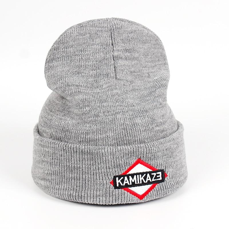 f5ef6350 Kamikaze Knitted Hat Eminem Latest Album Hats Elastic Brand KAMIKAZE  Embroidery Beanie Winter Warm Skullies & Beanies Ski Cap