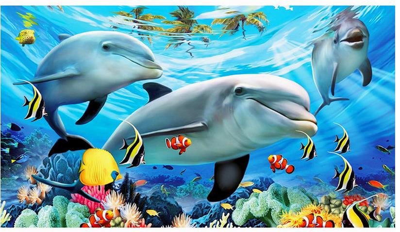 Dolphin wallpaper 3d collection 14 wallpapers for Dolphin mural wallpaper