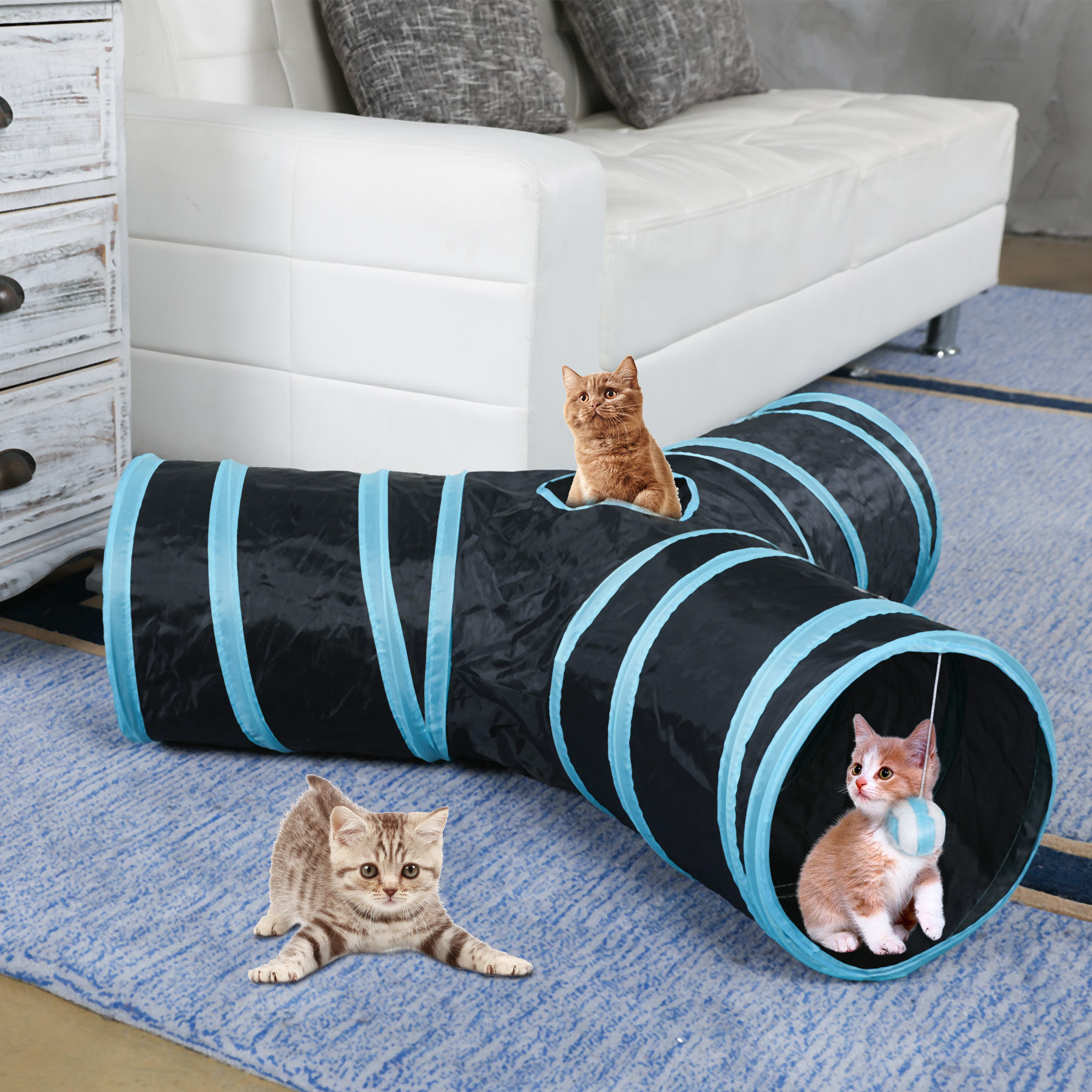 Dropshipping Pet Cat Tunnel Toys for Cat Kitten 3 Holes Collapsible Crinkle Cat Playing Tunnel Toy Blue Pink Cat Toys Brand