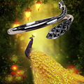 Vintage 925 sterling silver Phoenix peacock shape bracelets for women 6 CM Resizable silver bracelets & bangles jewelry