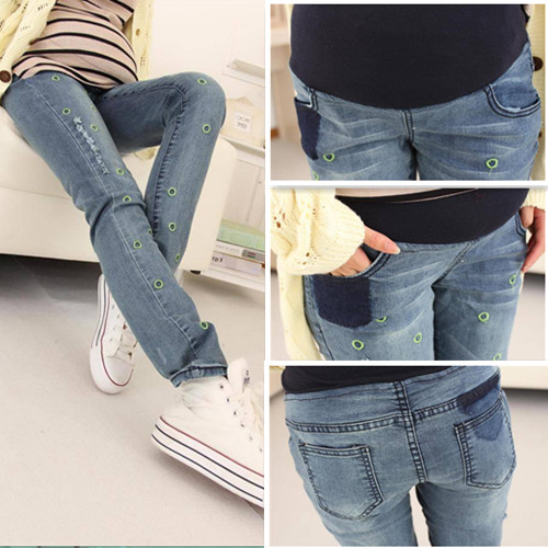 Pregnant women Elastic waist jeans embroidered ring maternity clothes autumn pregnant belly pregnant women pants trousers agb women s elastic waist pants