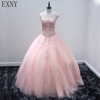 EXNY 2019 New Ball Gown Prom Dresses Long Appliques Tulle Light Pink Dress for Quinceanera Vestidos De 15 Anos Debutante