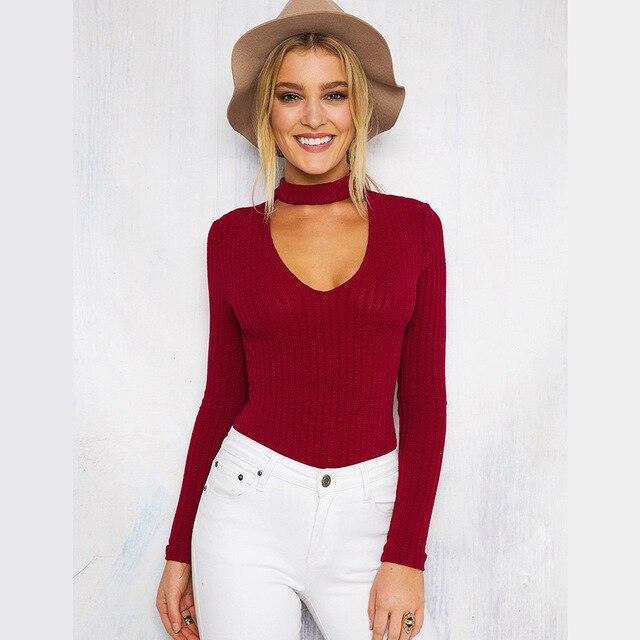 4e4908aa94 Women Knitted Bodycon Jumpsuit Romper Long sleeve Halter Slim wild Siamese  pants Autumn Women Bodysuits Womens