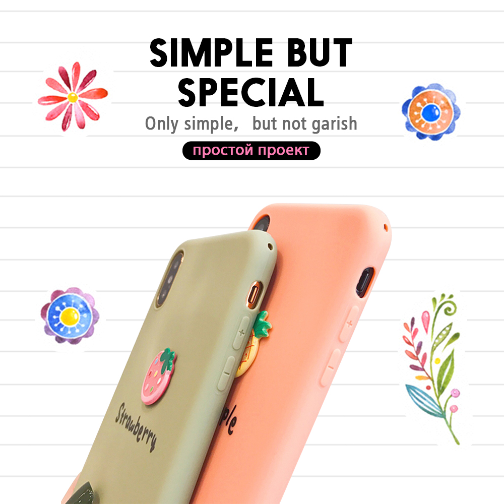 Pohiks Capa For iPhone XS Max XR X 6 7 8 Plus Fruits Pineapple Strawberry Soft Phone Case Cover For iphone X xR XS MAx Fundas in Fitted Cases from Cellphones Telecommunications