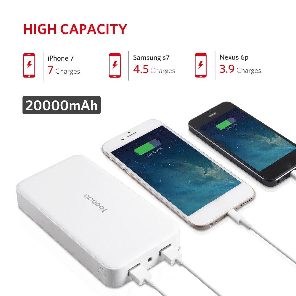 imágenes para Yoobao 20000 mAh YB-S8 Más El Powerbank Portátil LLEVÓ La Luz De Doble Salida USB Power bank Batería de Reserva Externa Para El Teléfono Móvil
