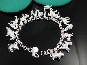Модные ювелирные изделия, Серебро S925 пробы, цветные ювелирные изделия, браслеты и браслеты, ювелирные изделия, абсолютно новые B284