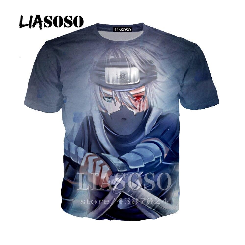 LIASOSO Naruto Anime T Shirts Harajuku Tee Shirts Naruto Kyuubi Uchiha Sasuke 3D Print tshirts Men Women 2018 T Shirt Homme Y209