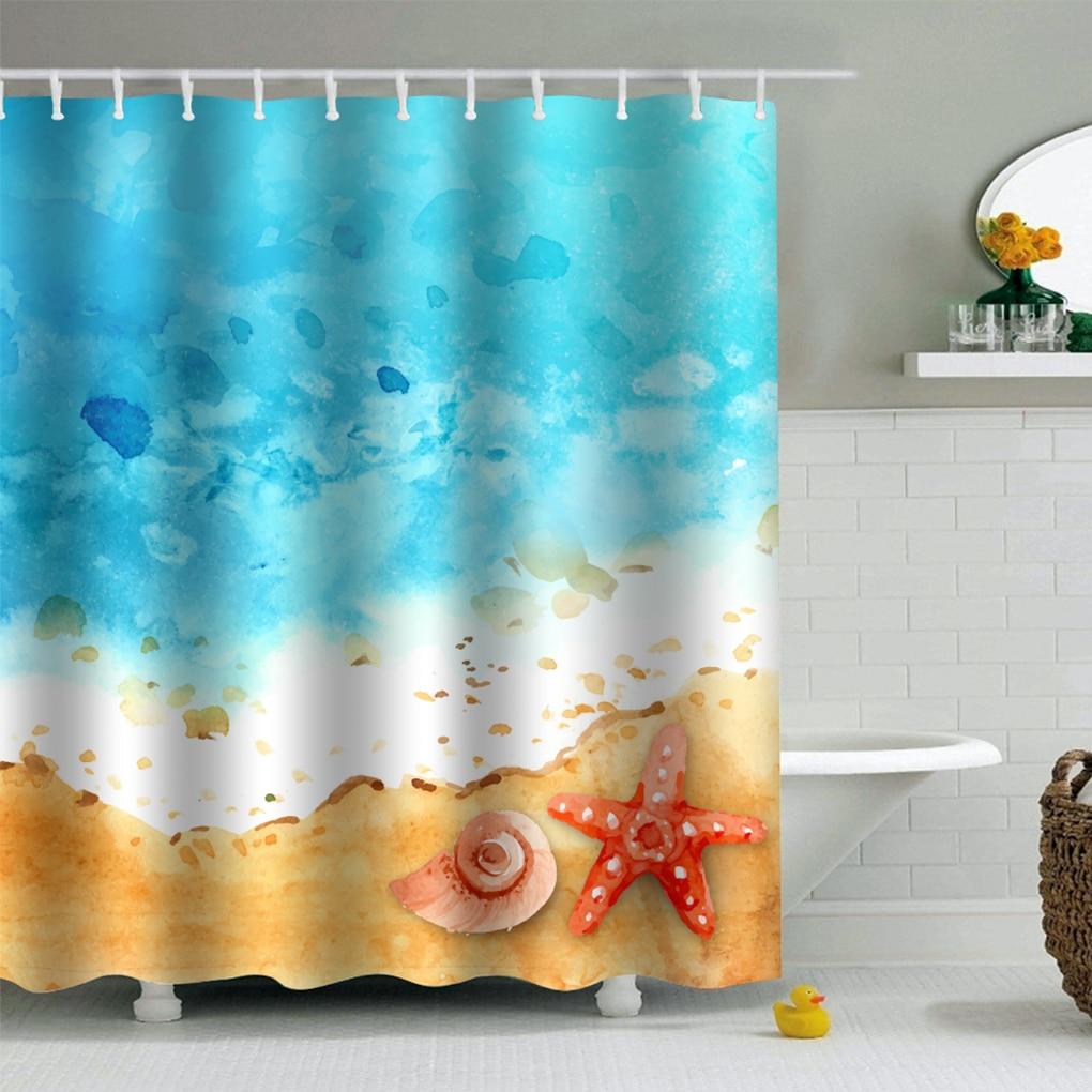Convenience Beach Print PEVA Shower Curtains Waterproof Moistureproof Home Bath Curtains 180x180cm/200x200cm Harmless