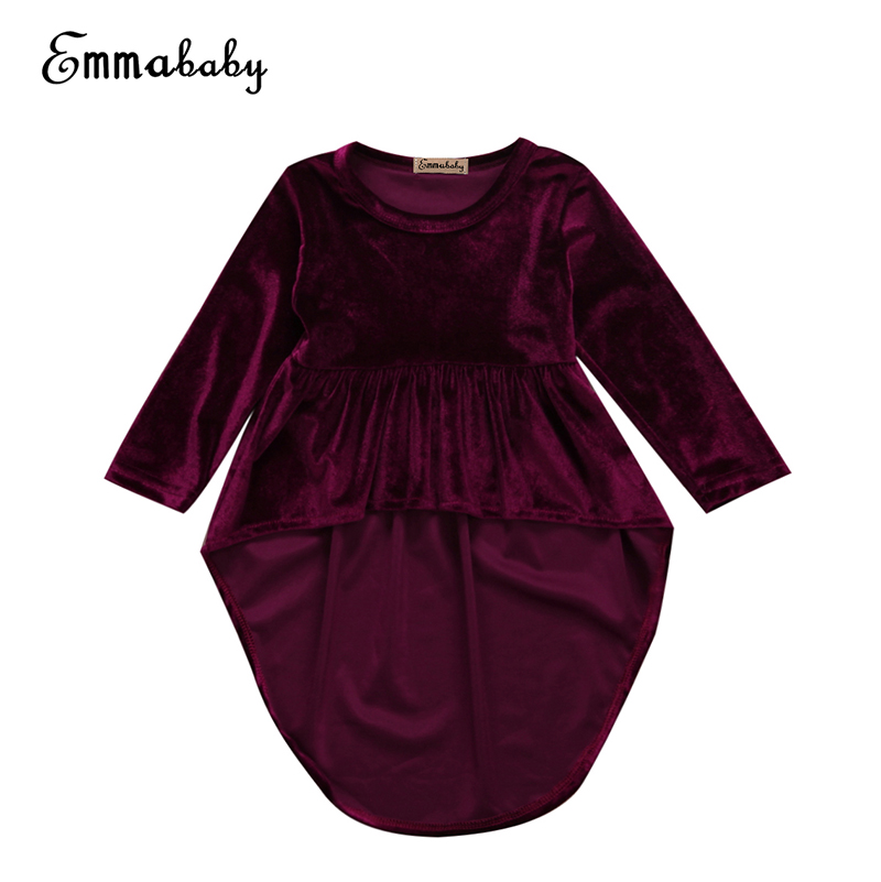 Emmababy Newborn Toddler Kids Girls Wine Red Pleuche Dress Long Sleeve Irregularity Mini Dresses Princess Child Party Vestido