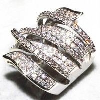 Luxury Pave Set Full Topaz Simulated Diamond CZ Stone Jewelry 14K White Gold Filled Wedding Birde