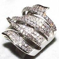 Luxury Pave Set Full Topaz Simulated Diamond CZ Stone Jewelry 14K White Gold Filled Wedding Birde