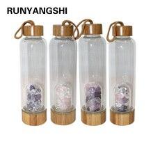 Criativo natural cristal de quartzo garrafa de água vidro cascalho irregular pedra copo ponto varinha cura infundido copo elixir para presentes