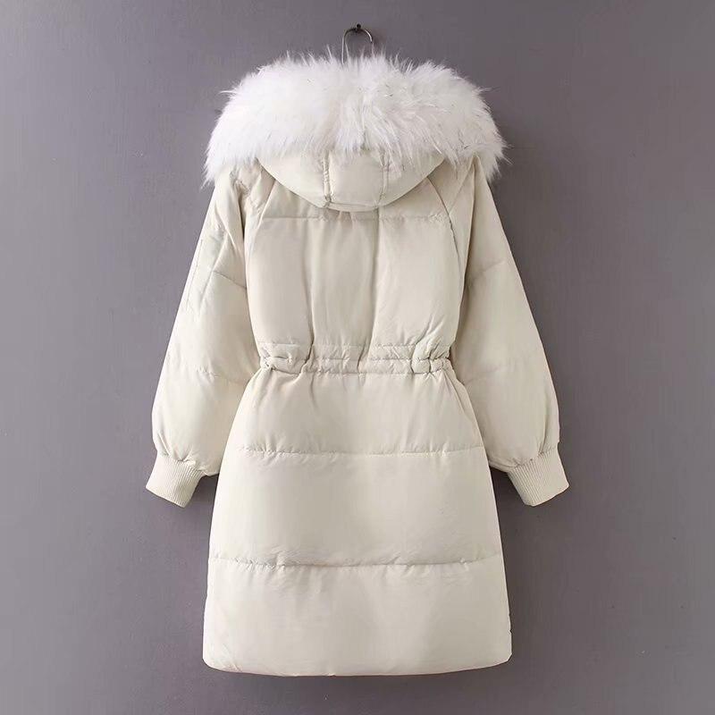 215073e81c Noir Fourrure D'hiver Longue Cordon gris Veste Femme Long vent blanc  Doudoune Coupe Manteau Femmes Parka ...