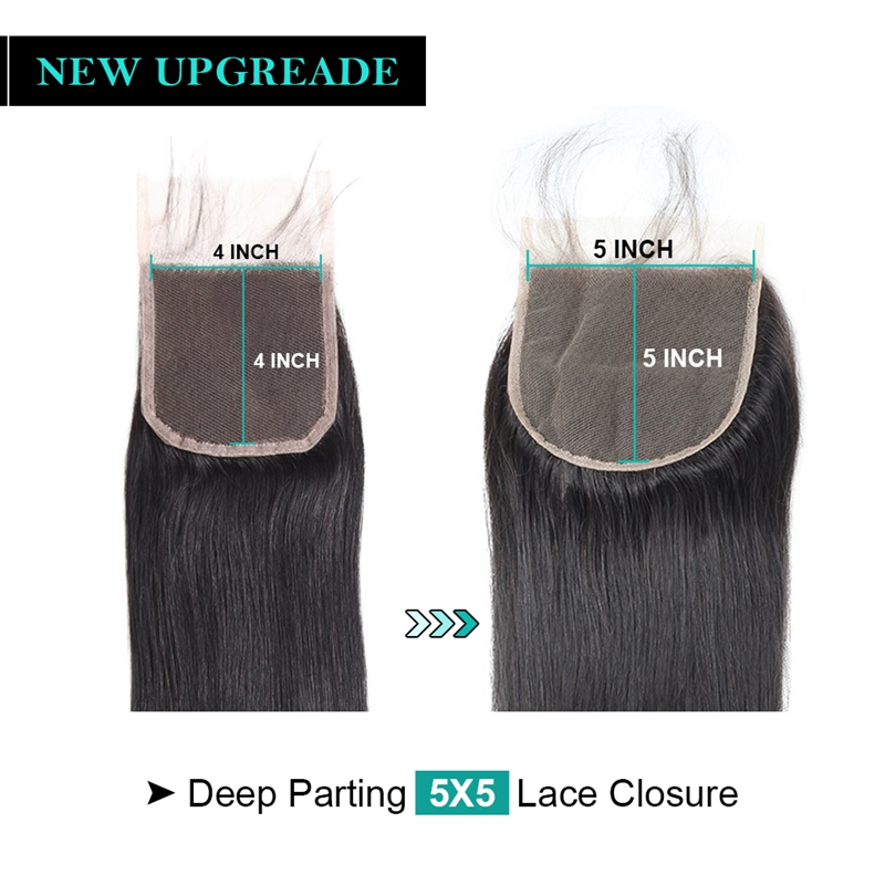 Image 3 - Allove Brazilian Straight Hair Lace Closure 8 20inch 5*5 Closure Free Middle Three Part Swiss Lace Closure Non Remy Human Hair-in Closures from Hair Extensions & Wigs