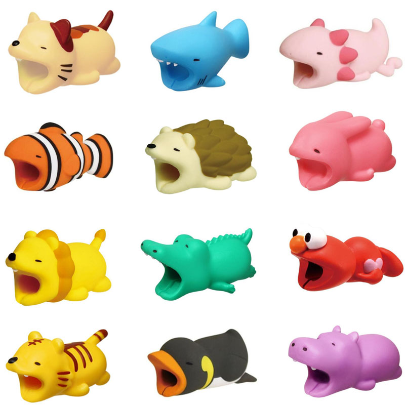 Cute Cable Bite Animal Protector For Phones Cable Protection Cartoon Penguin Tiger Pig Cat Crocodile Dog Panda Shark Cable Bites