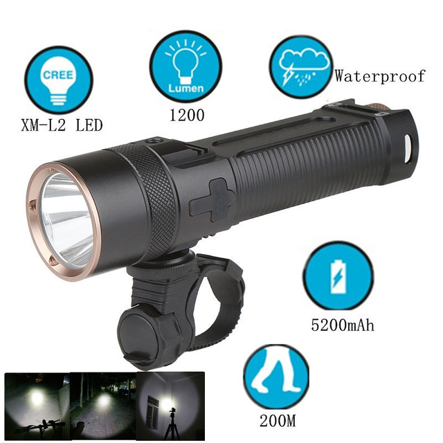 XM-L2 LED 1200 Lumens Bicycle Light Power Bank Waterproof USB Rechargeable Bike front Light Flashlight Riding Lamp