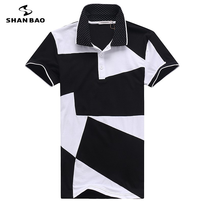 Men's business casual cotton   polo   shirt 2017 summer high quality black and white stitching short sleeve   POLO   large size M to 6XL