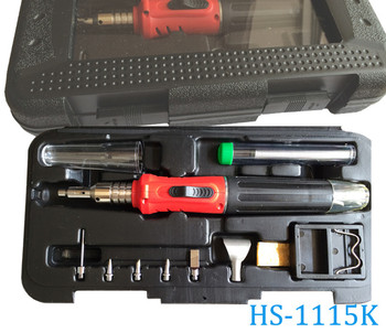 Self-Ignition 10-in-1 Gas Soldering Iron Cordless Welding Torch Kit Tool HS-1115K Top Quality Ignition Butane Gas Soldering Iron