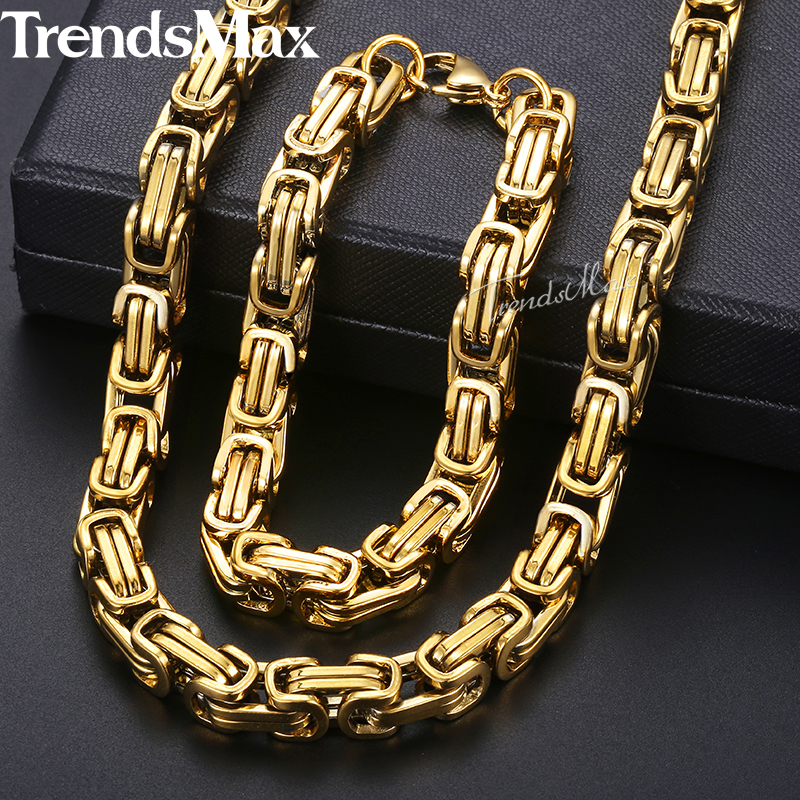 Jewelry Sets For Men Stainless Steel Bracelet Necklace Set Gold Byzantine Box Chain 2018 Fashion Hip Hop Jewelry Male 8mm KKS55 thick gold chain set wholesale men s jewelry white black crystal buckle necklace bracelet stainless steel jewelry sets