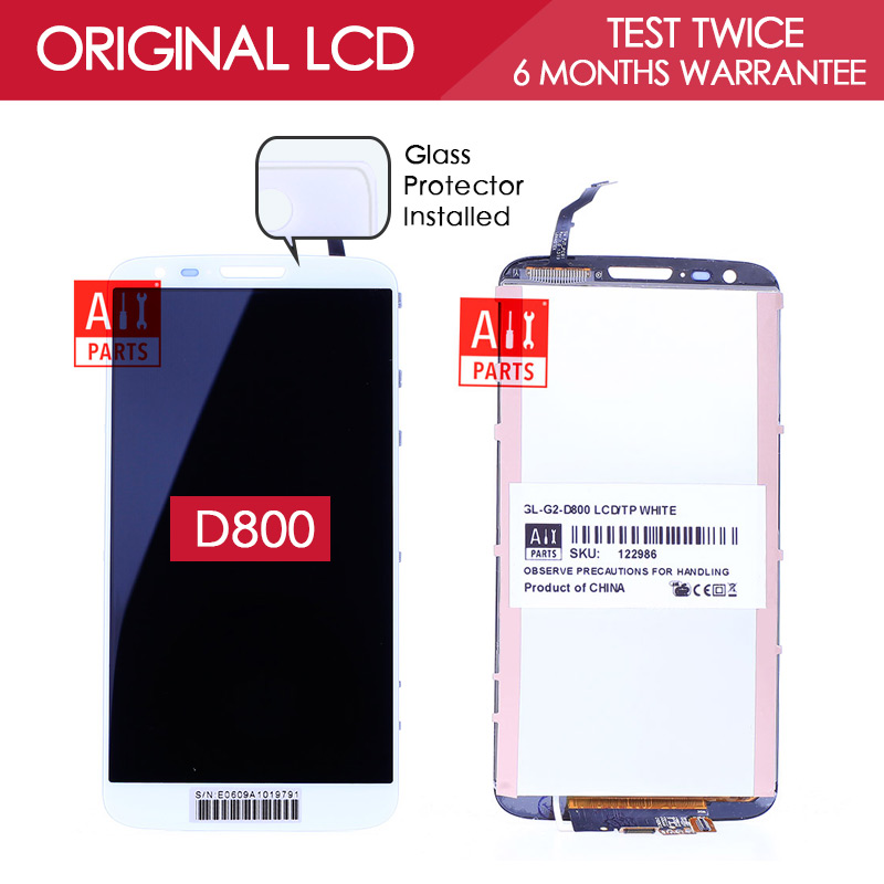 100 Tested Original Black Whtie IPS 1920x1080 Display For LG Optimus G2 LCD Touch Screen Digitizer