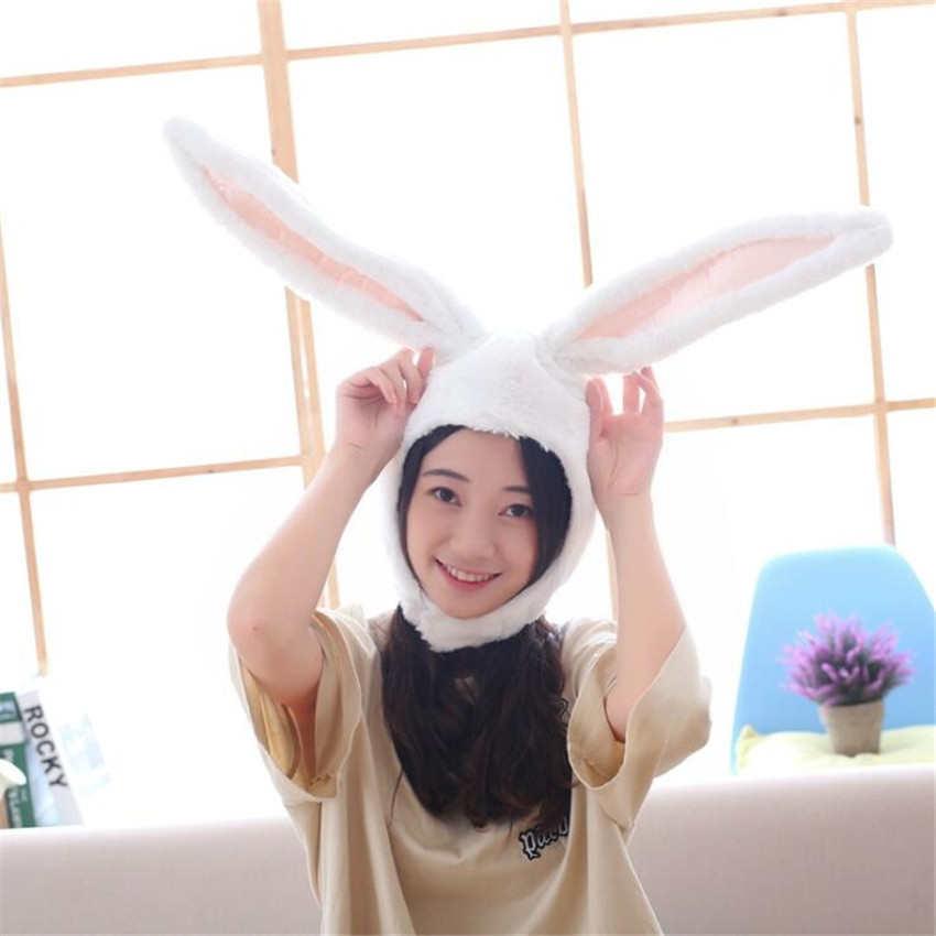 Hot Long Ears White Pink Rabbit Hat Cosplay Costumes Props Accessories Plush Head Fancy Cap Take Photos Keep Warm