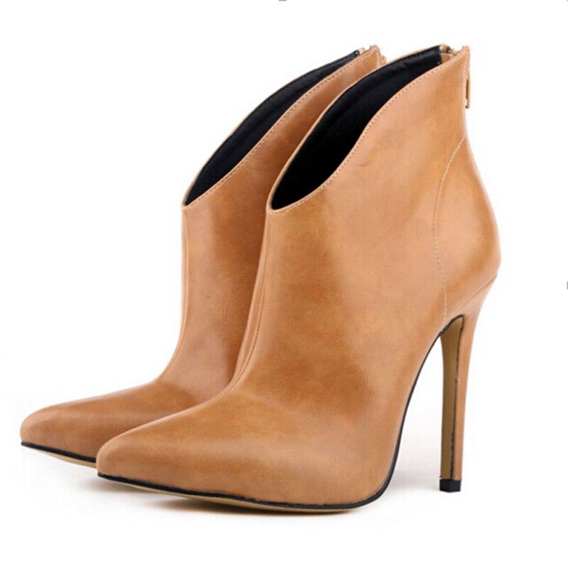 Mode Europe Star mode femmes Sexy chaussures bout pointu robe de soirée de mariage bottes courtes fermeture éclair talons hauts bottes W817