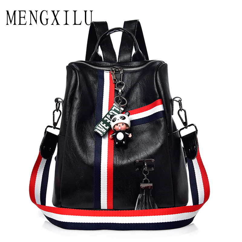 MENGXILU Cute Keychain Backpacks For Girls Fashion Tassel Women Backpack Female Colorful Daypack SchoolBag Leather Shoulder Bags mma backpack box ing shoulder ufc memory gifts daypack for friends