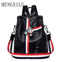 MENGXILU Cute Keychain Backpacks For Girls Fashion Tassel Women Backpack Female Colorful Daypack SchoolBag Leather Shoulder