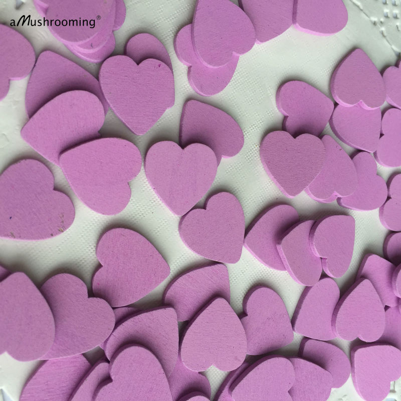 200pcs unfinished wooden wood heart shape pieces purple for Craft supplies wooden shapes