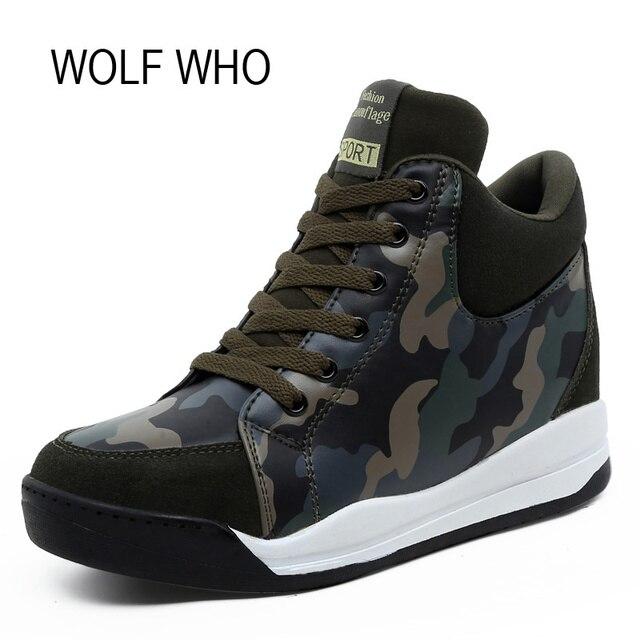 WOLF WHO Hidden Heels Women Winter Shoes Wedge Sneakers Platform High Top  Leather Winter Fur Krasovki Tenis Feminino Casual X143