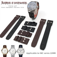21mm 22mm Top Quality Cowhide Watchband Military Style Folding Buckle Watch Strap Suitable for IWC PILOT PORTUGIESER Wristwatch