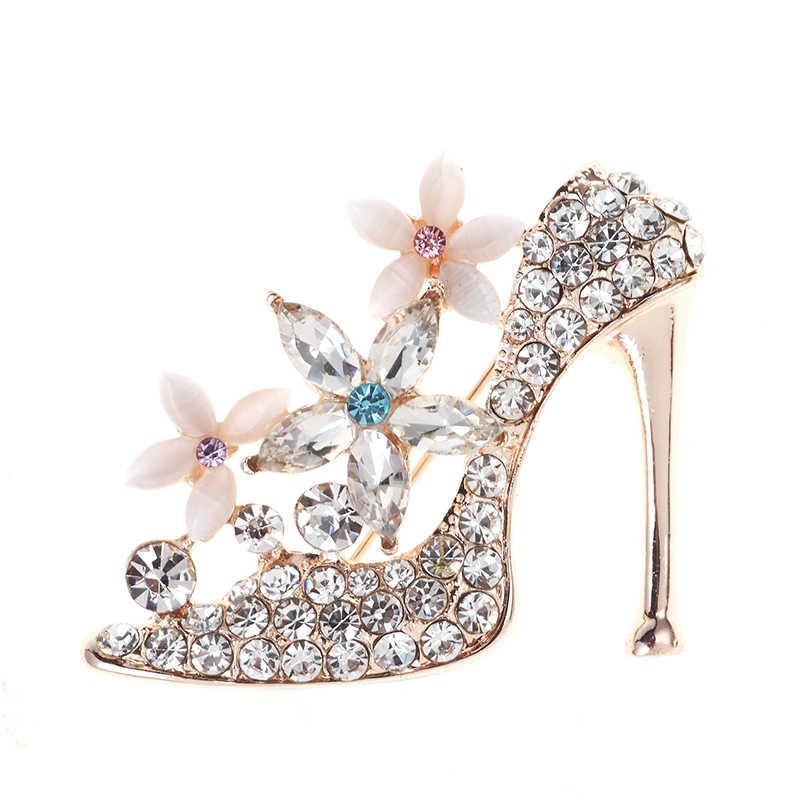 รองเท้าส้นสูงเข็มกลัด Pins คริสตัลแมวตาหินโอปอลเข็มกลัด Rhinestone ดอกไม้ผ้าพันคอ Shawl Pins เข็มกลัดสำหรับผู้หญิงเครื่องประดับ