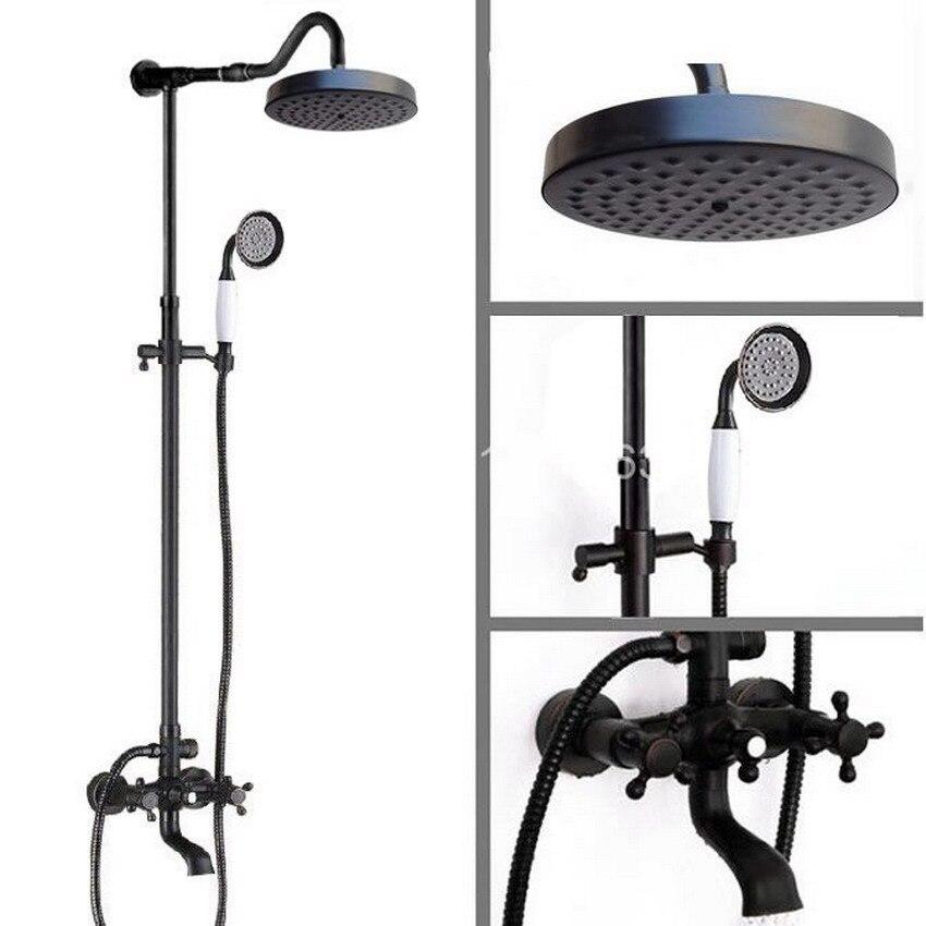 Luxury Bathroom Rain Shower Faucet Set Black Oil Rubbed Bronze Handheld Shower Head Two Cross Handles Bathtub Mixer Tap ars668