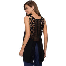 Women's Clothing Tops & Tees Tanks & Camis Fashion Women Summer Vest Top Sleeveless Casual Hollow Out Lace Tank Tops Y0120-69E