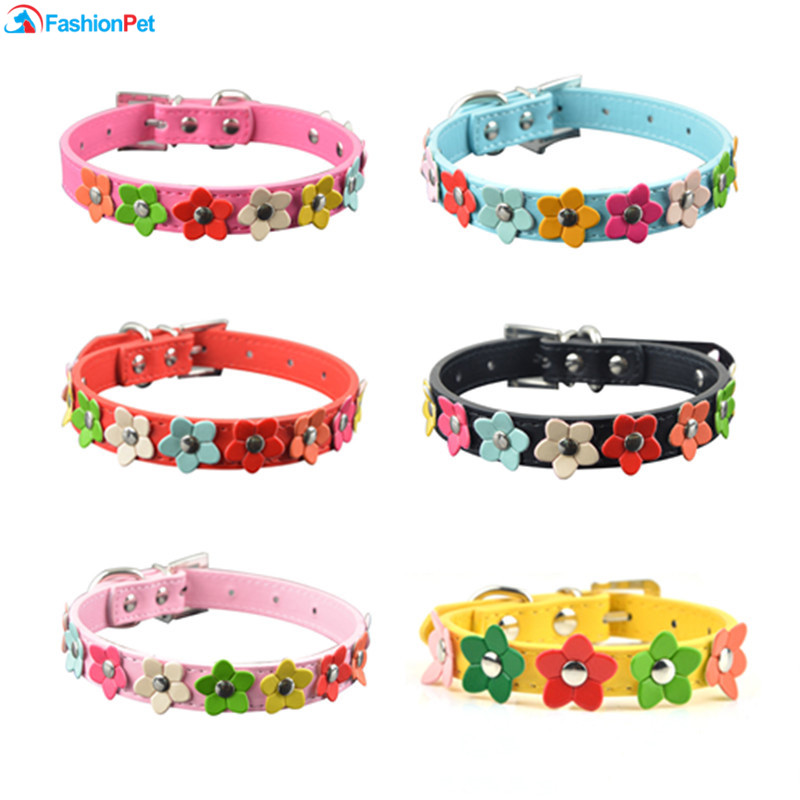 Hot Sale PU Leather Pet Collar XS/S/M/L Flowers Studded Dog Pet Puppy Necklace Collars