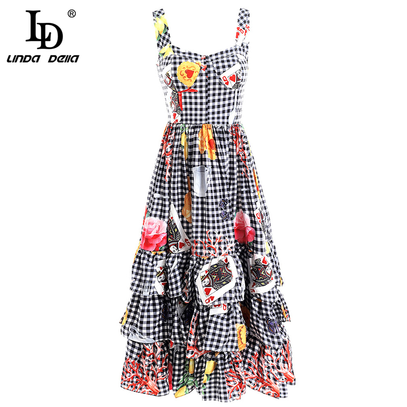 LD LINDA DELLA New Spring Summer Fashion Dress Women 39 s Sexy Spaghetti Strap Plaid Printed Elegant Vintage Party Cupcake Dresses in Dresses from Women 39 s Clothing